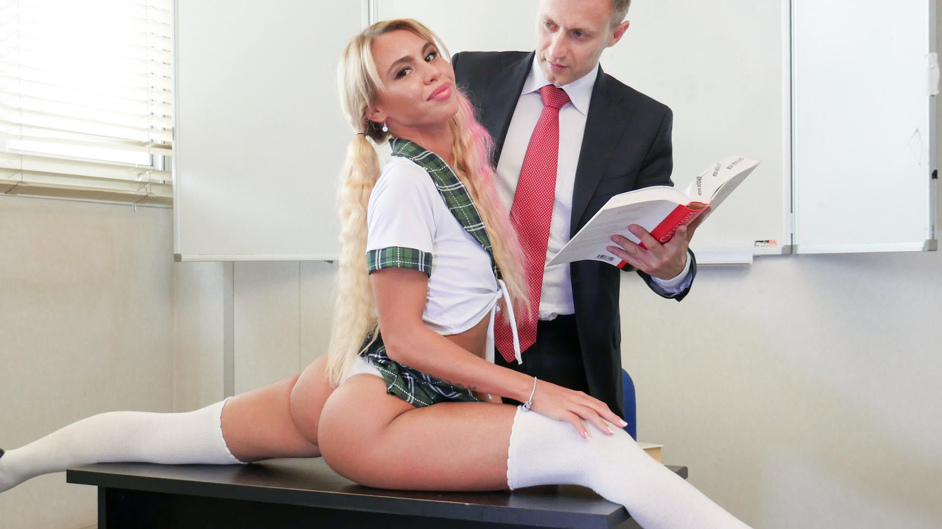Naughty school girl Lana Sins gets passionately fucked and cum covered